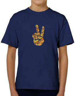 Peace Sign - Hand Collage T-Shirt Boys Youth