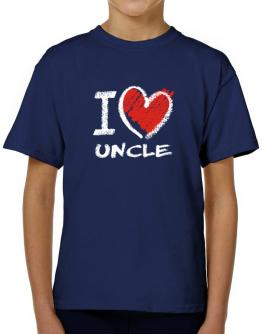 I love Auncle chalk style T-Shirt Boys Youth