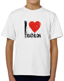 I Love Triathlon T-Shirt Boys Youth