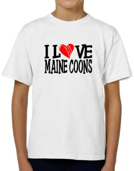I Love Maine Coons - Scratched Heart T-Shirt Boys Youth