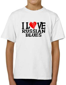 I Love Russian Blues - Scratched Heart T-Shirt Boys Youth
