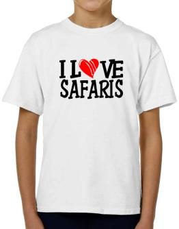 I Love Safaris - Scratched Heart T-Shirt Boys Youth