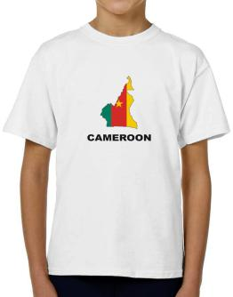 Cameroon - Country Map Color T-Shirt Boys Youth