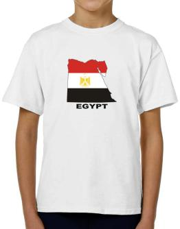 Egypt - Country Map Color T-Shirt Boys Youth