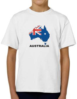 Australia - Country Map Color T-Shirt Boys Youth