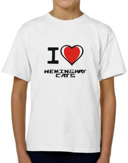 I Love Hemingway Cats T-Shirt Boys Youth