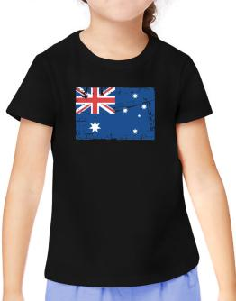 """ Australia - Vintage Flag "" T-Shirt Girls Youth"