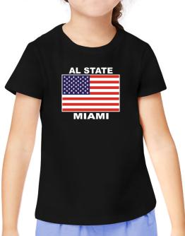 """ Miami - US Flag "" T-Shirt Girls Youth"