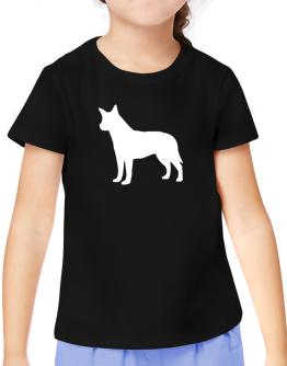 Australian Cattle Dog Silhouette Embroidery T-Shirt Girls Youth