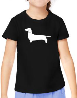 Dachshund Silhouette Embroidery T-Shirt Girls Youth