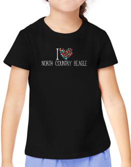 I love North Country Beagle colorful hearts T-Shirt Girls Youth