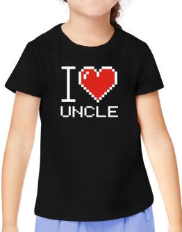 I love Auncle pixelated T-Shirt Girls Youth