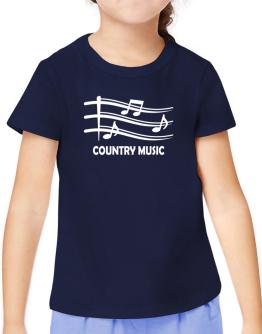Country Music - Musical Notes T-Shirt Girls Youth