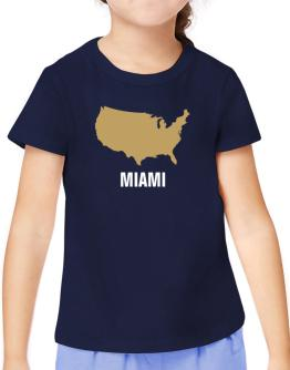 Miami - Usa Map T-Shirt Girls Youth