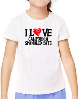 I Love California Spangled Cats - Scratched Heart T-Shirt Girls Youth