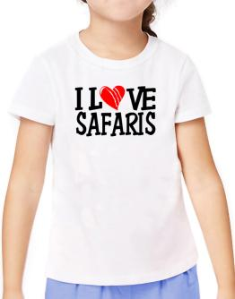 I Love Safaris - Scratched Heart T-Shirt Girls Youth