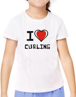 I Love Curling T-Shirt Girls Youth