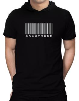 Saxophone Barcode Hooded T-Shirt - Mens