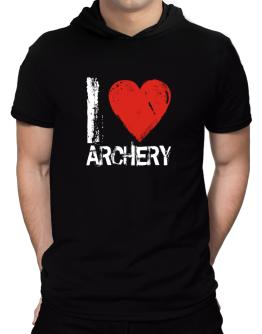 I Love Archery Hooded T-Shirt - Mens
