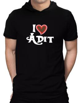 I Love Adit Hooded T-Shirt - Mens