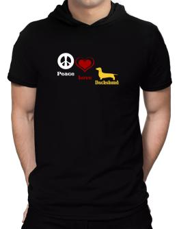 Peace, Love, Dachshund Hooded T-Shirt - Mens
