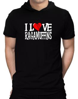 I Love Ragamuffins - Scratched Heart Hooded T-Shirt - Mens