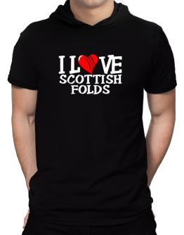 I Love Scottish Folds - Scratched Heart Hooded T-Shirt - Mens