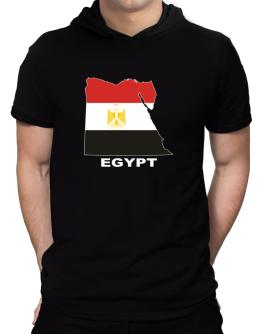 Egypt - Country Map Color Hooded T-Shirt - Mens