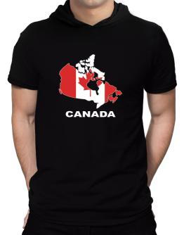 Canada - Country Map Color Hooded T-Shirt - Mens