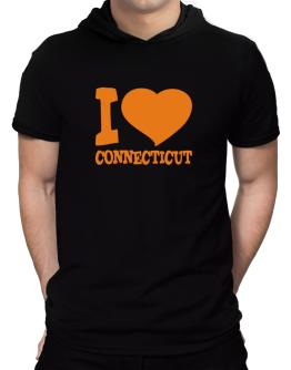 I Love Connecticut Hooded T-Shirt - Mens