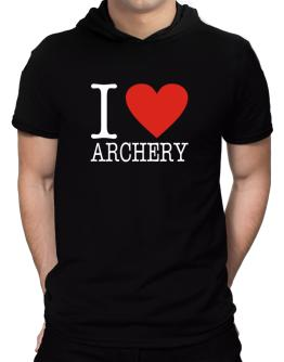 I Love Archery Classic Hooded T-Shirt - Mens