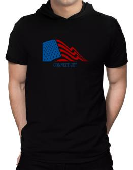 Flag Usa Connecticut Hooded T-Shirt - Mens