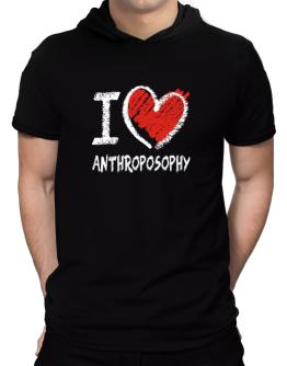 I love Anthroposophy chalk style Hooded T-Shirt - Mens