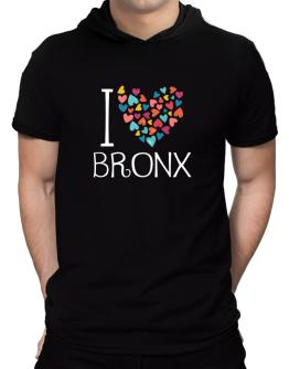 I love Bronx colorful hearts Hooded T-Shirt - Mens