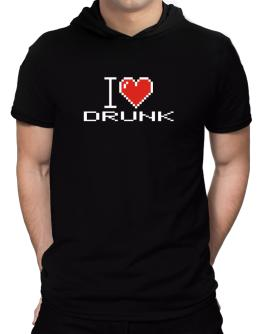 I love Drunk pixelated Hooded T-Shirt - Mens