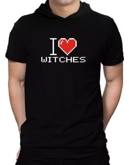 I love Witches pixelated Hooded T-Shirt - Mens