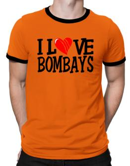 I Love Bombays - Scratched Heart Ringer T-Shirt