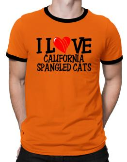 I Love California Spangled Cats - Scratched Heart Ringer T-Shirt