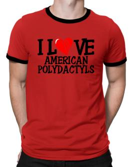 I Love American Polydactyls - Scratched Heart Ringer T-Shirt