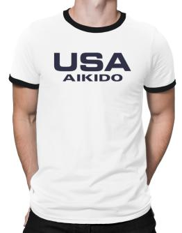 Usa Aikido / Athletic America Ringer T-Shirt