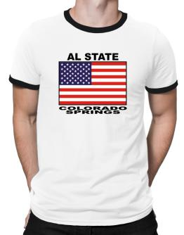 """ Colorado Springs - US Flag "" Ringer T-Shirt"