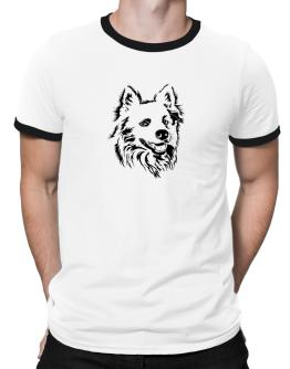 American Eskimo Dog Face Special Graphic Ringer T-Shirt