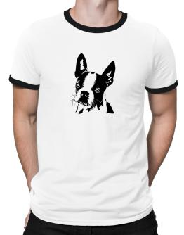 Boston Terrier Face Special Graphic Ringer T-Shirt