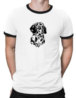 Dachshund Face Special Graphic Ringer T-Shirt