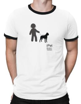""" I PET / Boston Terriers "" Ringer T-Shirt"