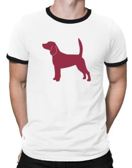 Beagle Silhouette Embroidery Ringer T-Shirt