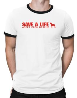 Save A Life, Adopt From Rescue - Boston Terrier Ringer T-Shirt