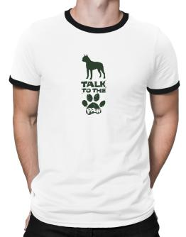 Talk To The Paw Boston Terrier Ringer T-Shirt