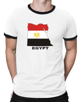 Egypt - Country Map Color Ringer T-Shirt