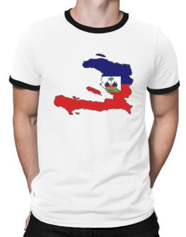Haiti - Country Map Color Simple Ringer T-Shirt